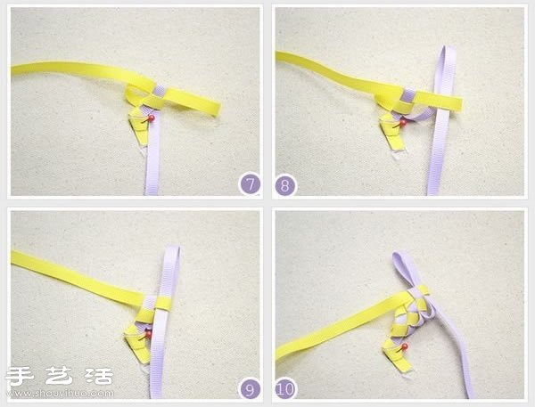 编织带手工制作小清新发箍,需要准备一紫一黄两种颜色的编织带、热熔枪、剪刀、咖啡色绸带及空白塑料发箍。首先用两根编织带编织出发箍的主体,然后将主体与空白发箍用热熔枪粘合,最后用绸带包裹发箍的两端收口,一款漂亮的发箍就制作完成了,具体步骤请参考下面的详细图解教程。