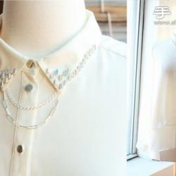 旧衬衫改造手工DIY水晶折领衬衣