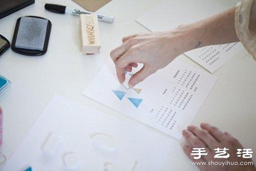利用橡皮章原理手工DIY漂亮清新日历 -  www.shouyihuo.com