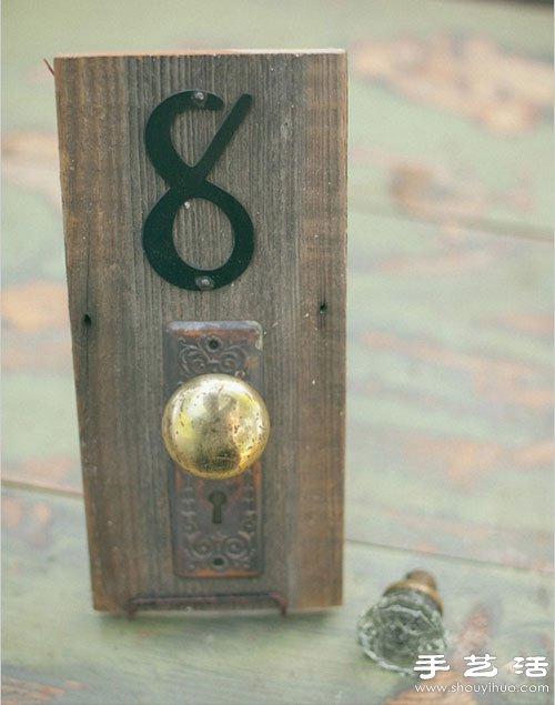 废旧木块+把手 diy手工制作复古桌牌号码
