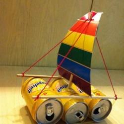 易拉罐变废为宝手工制作小帆船