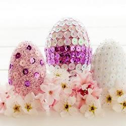 羊毛毡+亮片+荧光粉 DIY漂亮装饰彩蛋