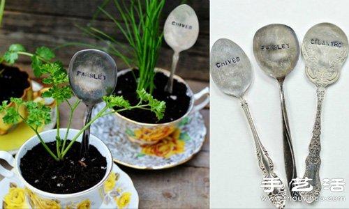陶瓷杯碟+復古金屬勺子 DIY製作小清新盆栽