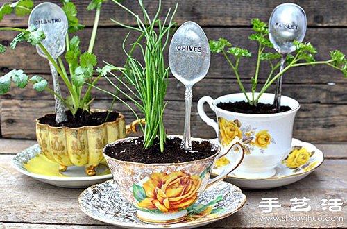 陶瓷杯碟+复古金属勺子 DIY制作小清新盆栽