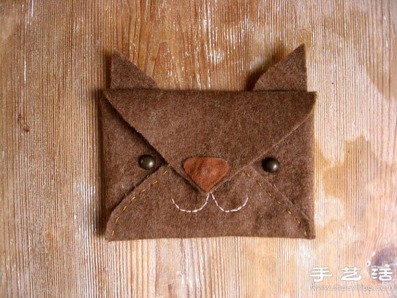 不织布教程:手工制作可爱动物卡包