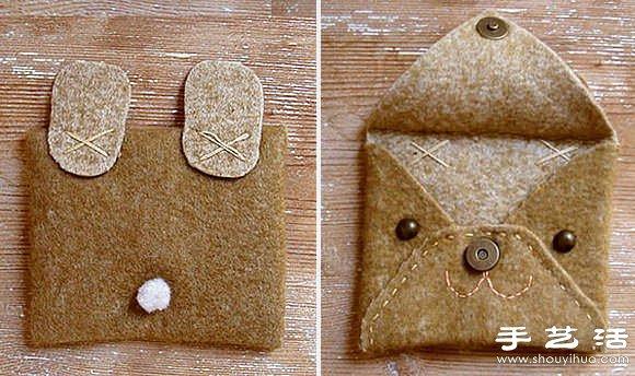 不织布教程 手工制作可爱动物卡包