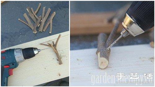 树枝+木板 手工制作环保挂衣架