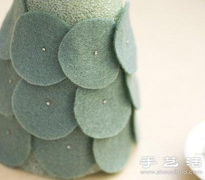海绵 毛毡布 手工制作迷你装饰圣诞树