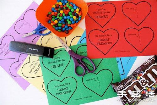 卡纸+订书机 超简单手工制作糖果爱心包装