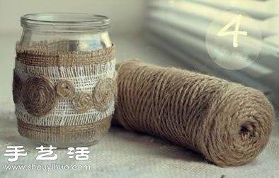 玻璃瓶废物利用DIY森系风格烛台 -  www.shouyihuo.com