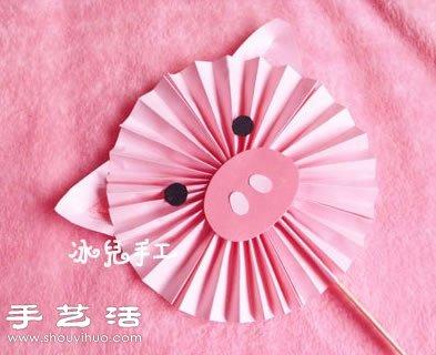 纸张+雪糕棒 手工制作可爱小猪纸扇