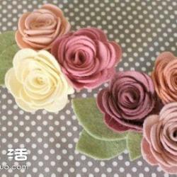 毛毡布+夹子 手工制作漂亮胸花的方法