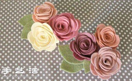 毛毡布 夹子 手工制作漂亮胸花的方法