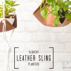 皮革手工制作可悬挂植物盆栽吊托