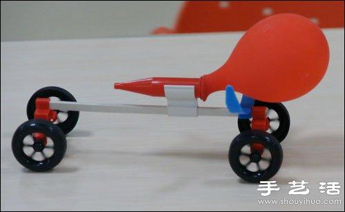 利用反作用力原理制作气球喷气玩具车 -  www.shouyihuo.com