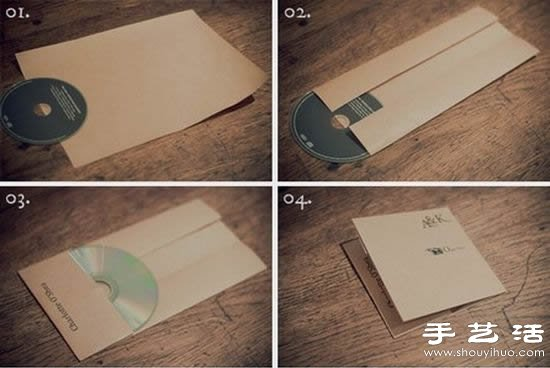 折纸cd光盘包装袋的制作教程