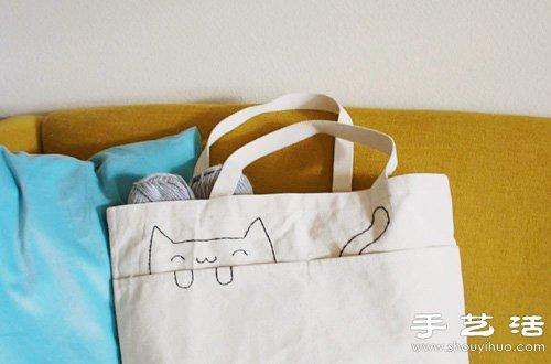 简单刺绣diy改造猫咪图案手提袋 - www.shouyihuo.com