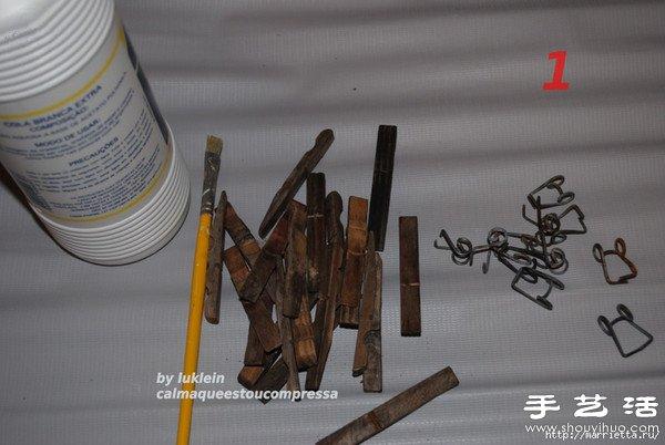 木夹子创意diy 手工制作靠背椅