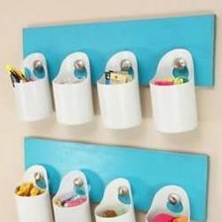 塑料瓶+木板 废物利用手工制作收纳壁挂