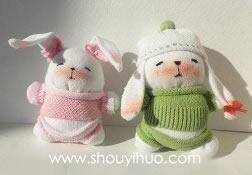 袜子手工制作可爱毛绒玩具兔子