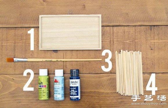 废木条变废为宝DIY手工制作壁挂装饰品高清图片