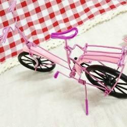铝线DIY手工制作漂亮的粉红自行车