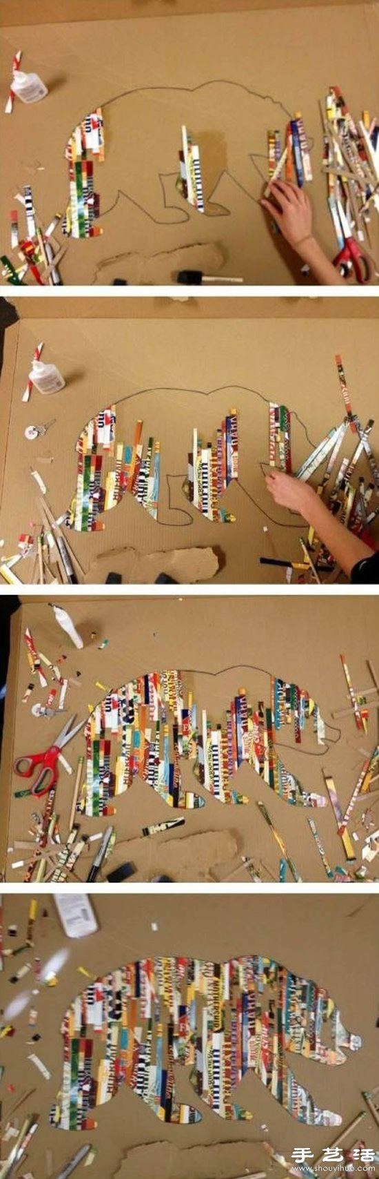 废旧硬纸板和杂志diy创意拼贴画的教程