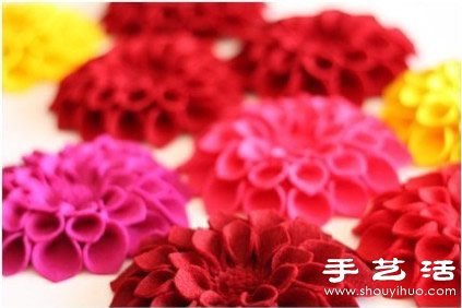 不织布教程:多层花瓣胸花diy手工制作