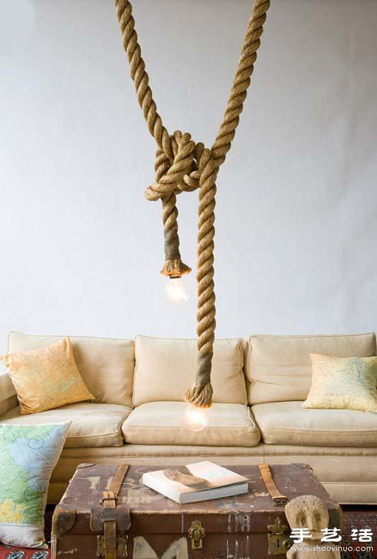 創意DIY復古麻繩吊燈