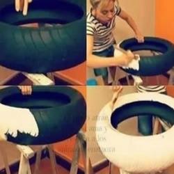 废弃汽车轮胎废物利用制作漂亮狗窝