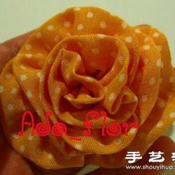布艺玫瑰花装饰手工制作图解教程