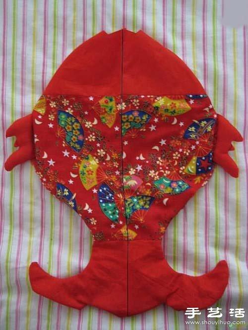 手工布艺吉祥双鱼挂件制作图解教程图片