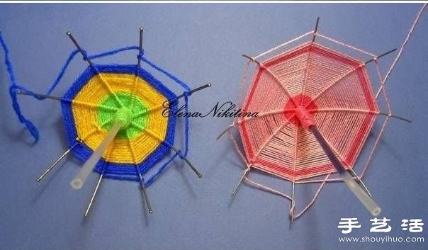 鐵絲+圓珠筆芯+毛線 手工製作迷你遮陽傘