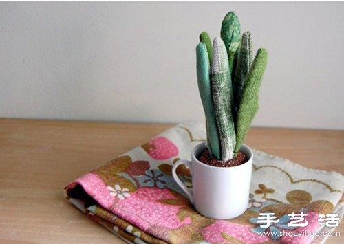 布艺手工制作的多肉植物盆栽装饰品