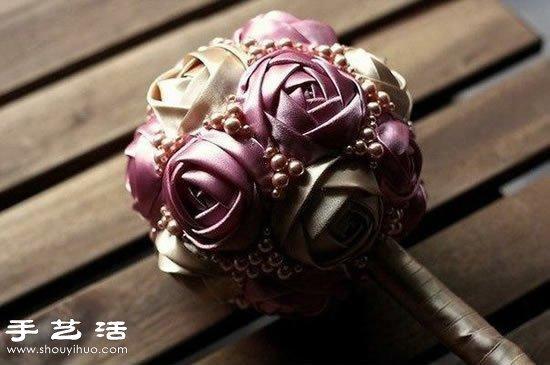 漂亮丝带花球/绣球手工制作图解教程