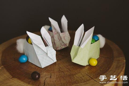 手工折纸制作小兔子纸盒视频教程