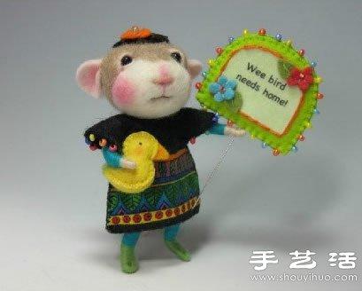 超萌的手工羊毛毡小动物玩偶
