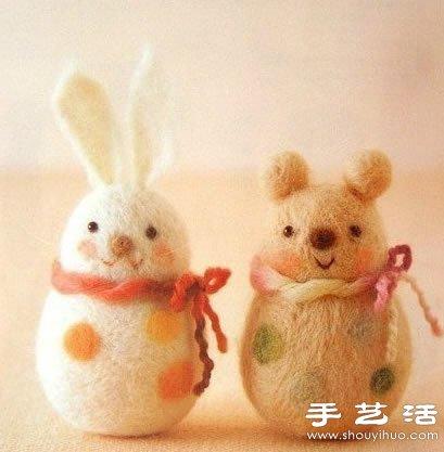 可爱小北极熊_超萌的手工羊毛毡小动物玩偶_手艺活网