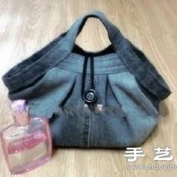 牛仔裤改造DIY制作实用手提包