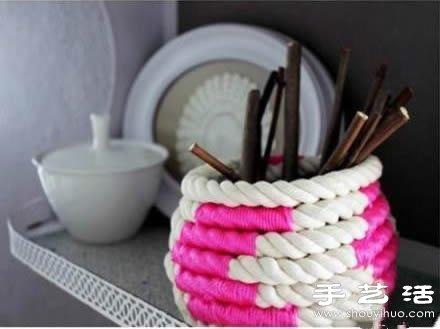 粗的编织绳DIY制作时尚笔筒/储物罐