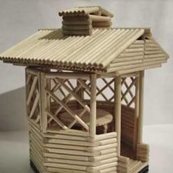 细木棍/一次性筷子手工制作凉亭模型的方