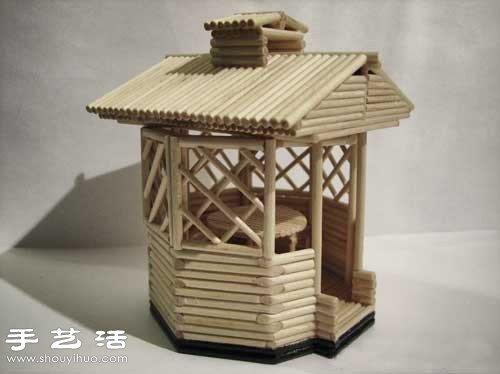 细木棍/一次性筷子手工制作凉亭模型的方法