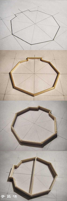 细木棍 一次性筷子手工制作凉亭模型的方法