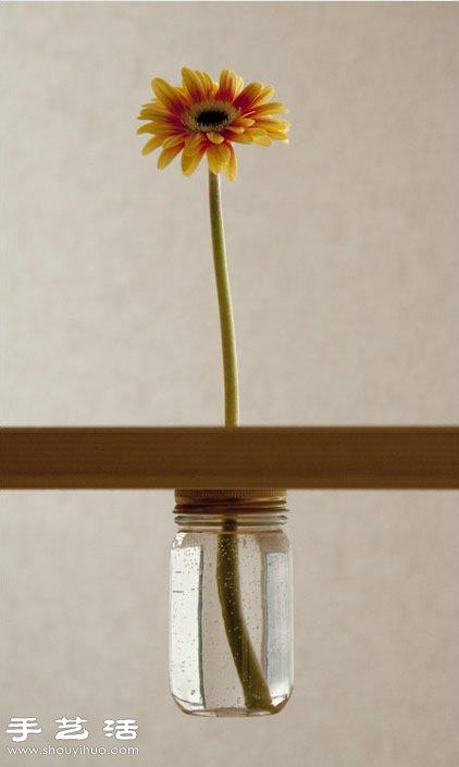 简单玻璃瓶废物利用 创意制作桌面花卉装饰