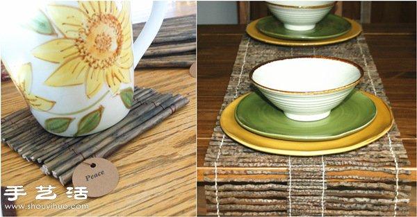 比较直挺的树枝,用细铁丝或者棉绳编在一起,就是非常实用的杯垫