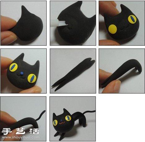 橡皮泥/軟陶/粘土手工製作貓貓玩偶的方法