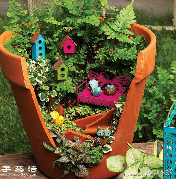 破花盆变废为宝diy制作超美的创意盆栽(2)