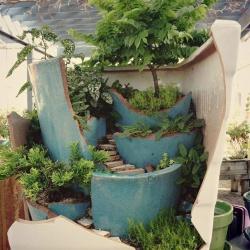 破花盆变废为宝DIY制作超美的创意盆栽