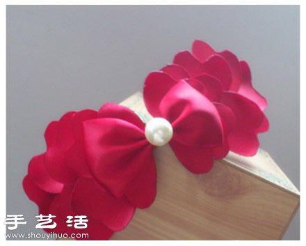 丝带diy手工制作精美蝴蝶结发箍图解教程