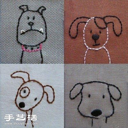 简便可爱的小狗画